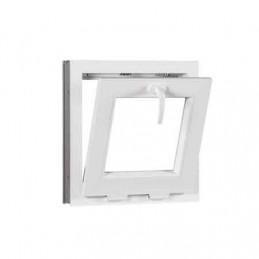 Sklopné plastové okno 50x50 cm, bílé, 6 komor