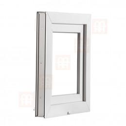 Sklopné plastové okno 45x45 cm, bílé, 6 komor