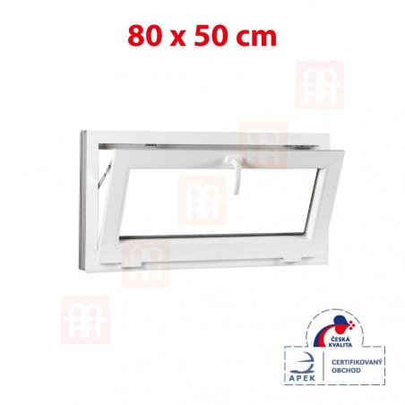Plastové okno | 80x50 cm (800x500 mm) | bílé | sklopné