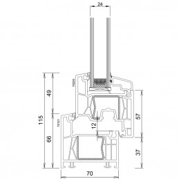 Sklopné plastové okno 70x42 cm, bílé, 6 komor