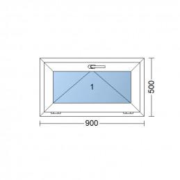 Sklopné plastové okno 90x50 cm, bílé, 6 komor