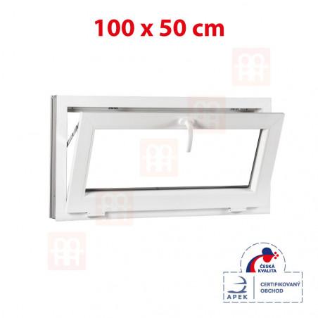 Plastové okno | 100x50 cm (1000x500 mm) | bílé | Sklopné