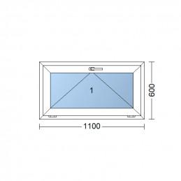 Sklopné plastové okno 110x60 cm, bílé, 6 komor