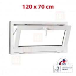 Sklopné plastové okno 120x70 cm, bílé, 6 komor
