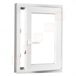 Plastové okno 50 x 70 cm, bílé, otevíravé i sklopné, pravé, 6 komor