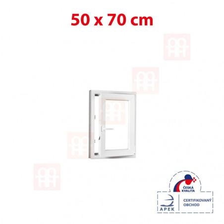 Plastové okno | 50 x 70 cm (500 x 700 mm) | bílé | otevíravé i sklopné | pravé