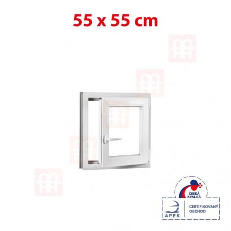 Plastové okno   55 x 55 cm (550 x 550 mm)   bílé  otevíravé i sklopné   pravé