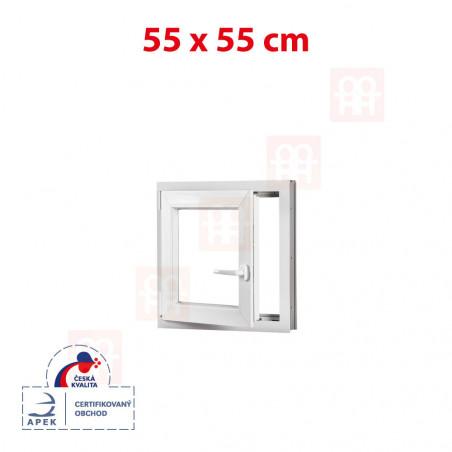 Plastové okno | 55x55 cm (550x550 mm) | bílé | otevíravé i sklopné | levé