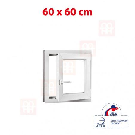 Plastové okno | 60 x 60 cm (600 x 600 mm) | bílé | otevíravé i sklopné | pravé