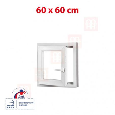 Plastové okno | 60x60 cm (600x600 mm) | bílé | otevíravé i sklopné | levé