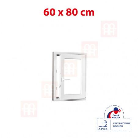 Plastové okno | 60 x 80 cm (600 x 800 mm) | bílé | otevíravé i sklopné | pravé