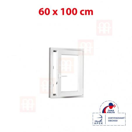 Plastové okno | 60 x 100 cm (600 x 1000 mm) | bílé | otevíravé i sklopné | pravé