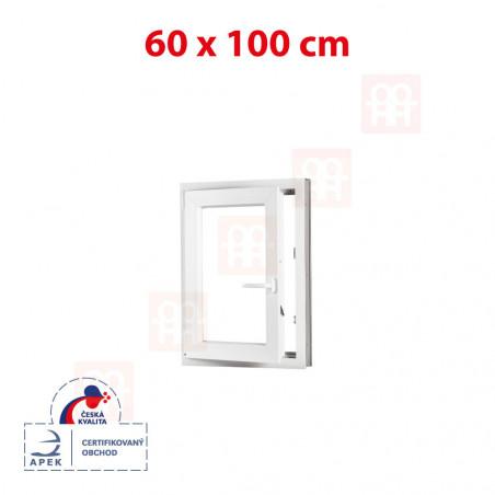 Plastové okno | 60x100 cm (600x1000 mm) | bílé | otevíravé i sklopné | levé