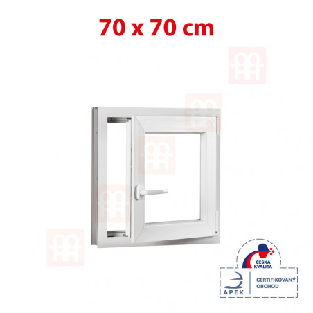 Plastové okno | 70 x 70 cm (700 x 700 mm) | bílé | otevíravé i sklopné | pravé