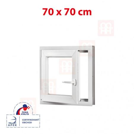 Plastové okno | 70x70 cm (700x700 mm) | bílé | otevíravé i sklopné | levé