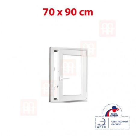 Plastové okno | 70 x 90 cm (700 x 900 mm) | bílé | otevíravé i sklopné | pravé