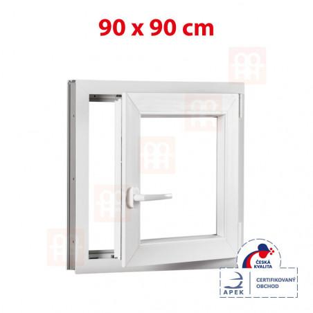 Plastové okno | 90 x 90 cm (900 x 900 mm) | bílé | otevíravé i sklopné | pravé