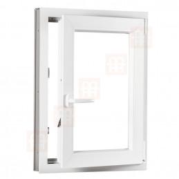 Plastové okno 90 x 110 cm, bílé, otevíravé i sklopné, pravé, 6 komor
