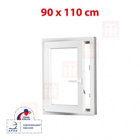 Plastové okno | 90x110 cm (900x1100 mm) | bílé | otevíravé i sklopné | levé