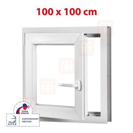 Plastové okno | 100x100 cm (1000x1000 mm) | bílé | otevíravé i sklopné | levé