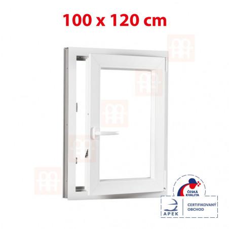 Plastové okno   100 x 120 cm (1000 x 1200 mm)   bílé   otevíravé i sklopné   pravé