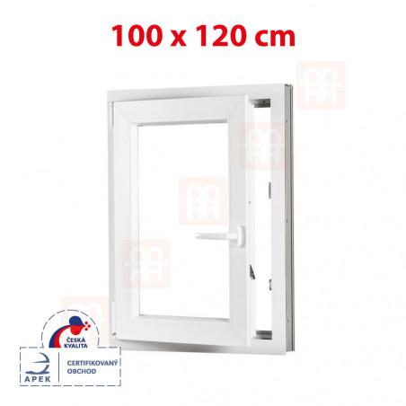 Plastové okno | 100x120 cm (1000x1200 mm) | bílé | otevíravé i sklopné | levé