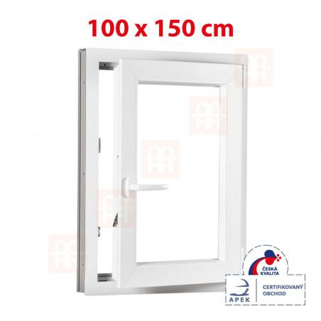 Plastové okno | 100 x 150 cm (1000 x 1500 mm) | bílé | otevíravé i sklopné | pravé