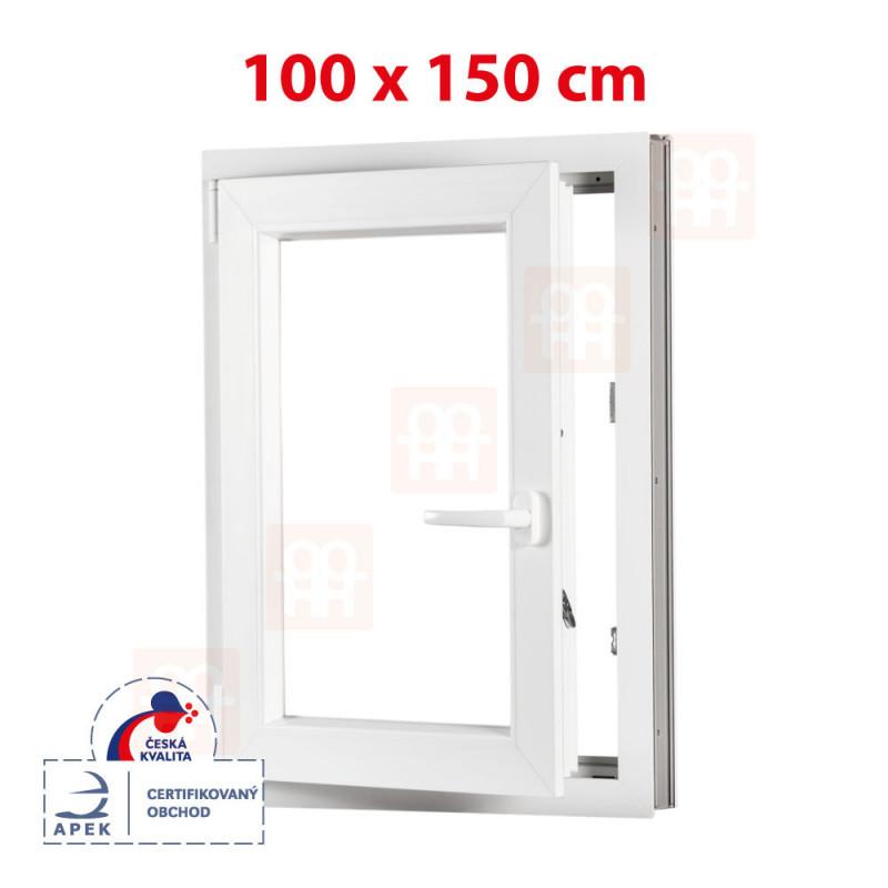 Plastové okno 100 x 150 cm, bílé, otevíravé i sklopné, levé, 6 komor