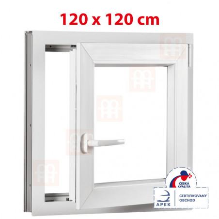 Plastové okno   120 x 120 cm (1200 x 1200 mm)   bílé   otevíravé i sklopné   pravé