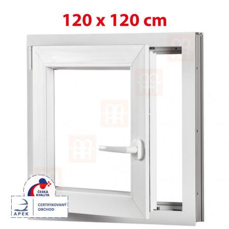 Plastové okno   120x120 cm (1200x1200 mm)   bílé   otevíravé i sklopné   levé