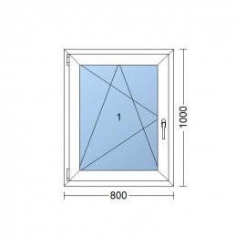 Plastové okno 80x100 cm, bílé, otevíravé i sklopné, levé, 6 komor