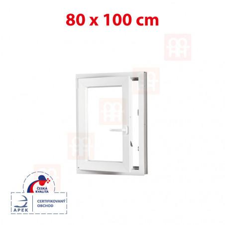 Plastové okno | 80x100 cm (800x1000 mm) | bílé | otevíravé i sklopné | levé