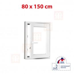 Plastové okno 80 x 150 cm, bílé, otevíravé i sklopné, pravé, 6 komor