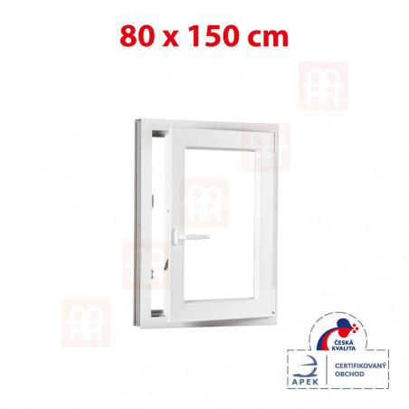 Plastové okno   80 x 150 cm (800 x 1500 mm)   bílé   otevíravé i sklopné   pravé