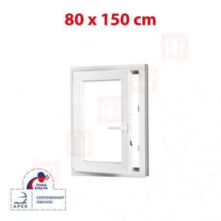 Plastové okno | 80x150 cm (800x1500 mm) | bílé | otevíravé i sklopné | levé