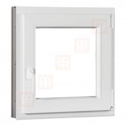 Plastové okno 80 x 80 cm, bílé, otevíravé i sklopné, pravé, 6 komor