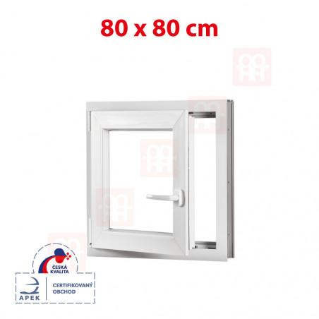 Plastové okno | 80x80 cm (800x800 mm)| bílé | otevíravé i sklopné | levé