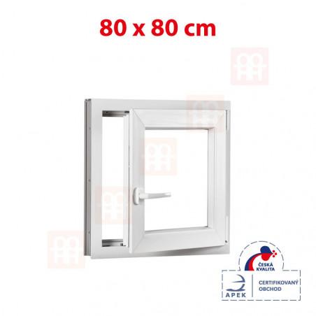 Plastové okno   80 x 80 cm (800 x 800 mm)   bílé   otevíravé i sklopné   pravé