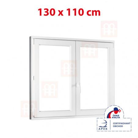 Plastové okno | 130x110 cm (1300x1100 mm) | bílé | dvoukřídlé bez sloupku (štulp) | pravé