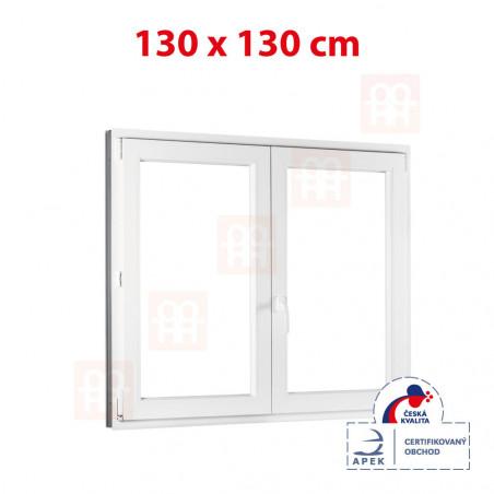 Plastové okno | 130x130 cm (1300x1300 mm) | bílé | dvoukřídlé bez sloupku (štulp) | pravé