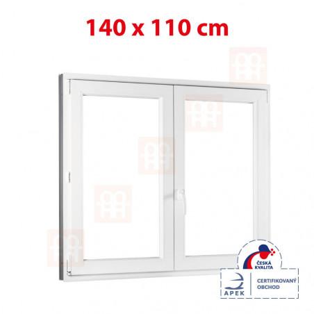 Plastové okno | 140x110 cm (1400x1100 mm) | bílé | dvoukřídlé bez sloupku (štulp) | pravé
