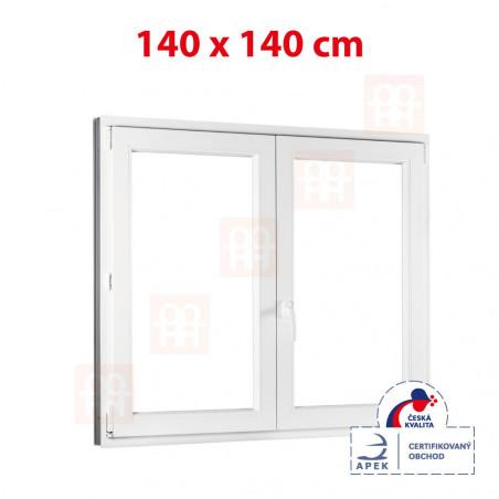 Plastové okno | 140x140 cm (1400x1400 mm) | bílé | dvoukřídlé bez sloupku (štulp) | pravé