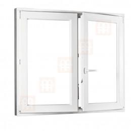Dvoukřídlé plastové okno 150x150 cm, bílé, bez sloupku (štulp), pravé