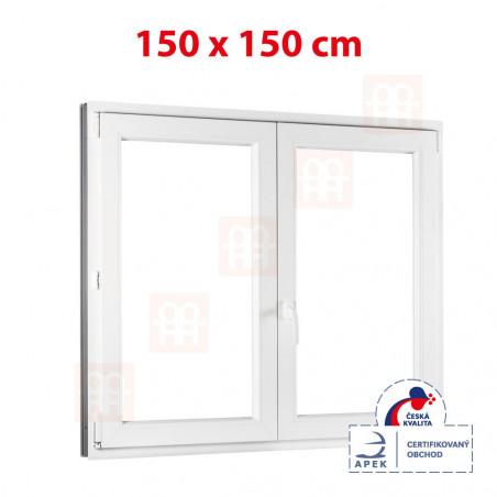 Plastové okno | 150x150 cm (1500x1500 mm) | bílé | dvoukřídlé bez sloupku (štulp) | pravé