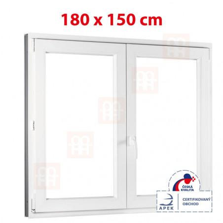 Plastové okno | 180x150 cm (1800x1500 mm) | bílé | dvoukřídlé bez sloupku (štulp) | pravé