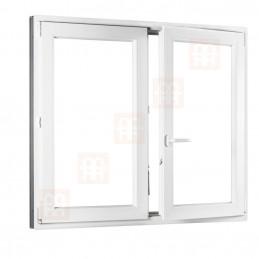 Dvoukřídlé plastové okno 180x150 cm, bílé, bez sloupku (štulp), pravé