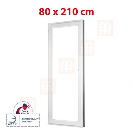 Plastové dveře   80 x 210 cm (800 x 2100 mm)   bílé   balkónové   otevíravé i sklopné   levé