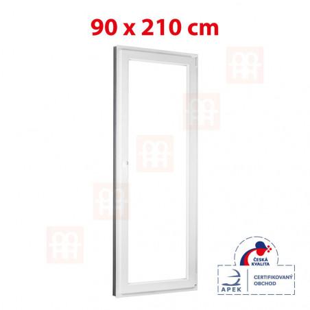 Plastové dveře   90x210 cm (900x2100 mm)   bílé   balkónové   otevíravé i sklopné   pravé