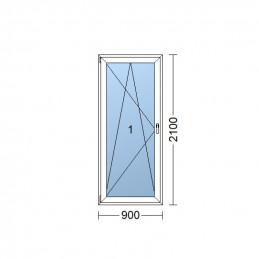 Plastové balkónové dveře 90 x 210 cm, otevíravé i sklopné, levé