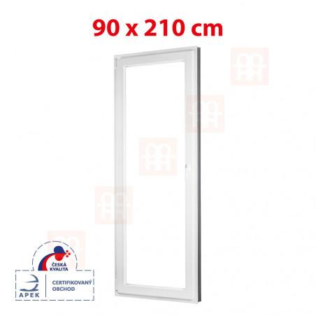 Plastové dveře | 90 x 210 cm (900 x 2100 mm) | bílé | balkónové | otevíravé i sklopné | levé